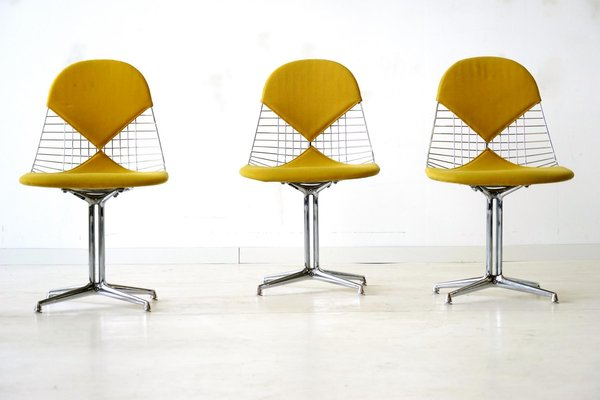 Mid Century Wire Bikini Side Chairs With La Fonda Bases By Charles U0026 Ray  Eames