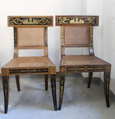 Mid Century Egyptian Revival Klismos Chair 1950s Set Of 2