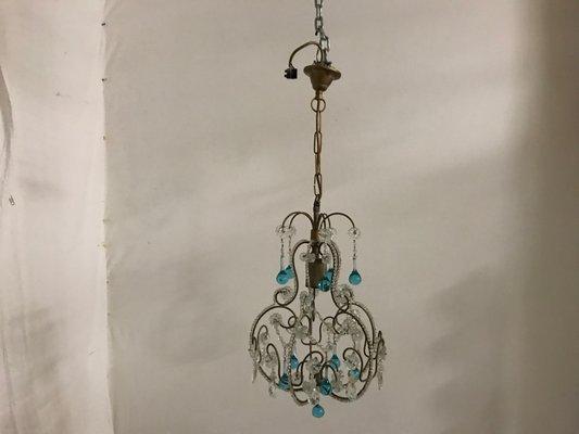 Lampade Da Soffitto Vintage : Lampada da soffitto vintage con perle in vetro e pendenti in vetro
