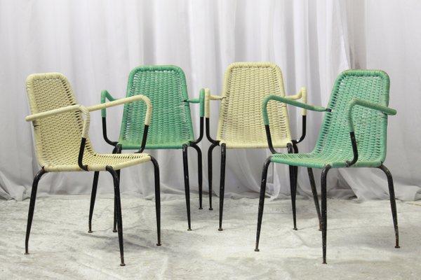 Sedie Intrecciate In Plastica.Sedie Da Giardino In Plastica Intrecciata Anni 50 Set Di 4 In