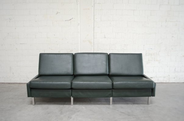 Green Conseta Leather Sofa by F. W. Möller for Cor, 1960s