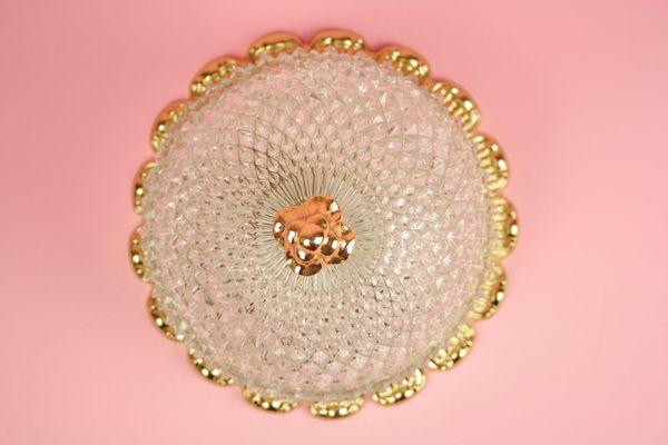 Applique rotonda hollywood regency in cristallo e color oro di