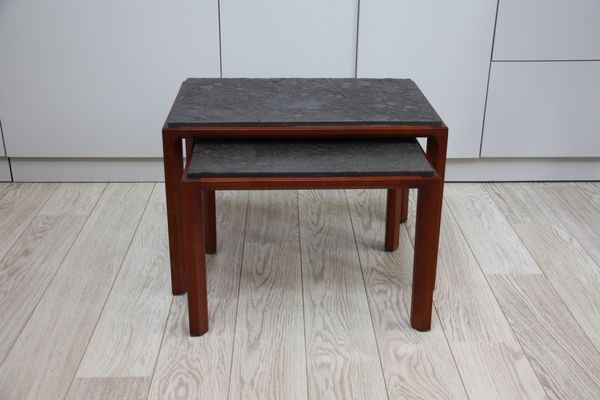 Vintage Side Tables In Wood Natural Stone 1