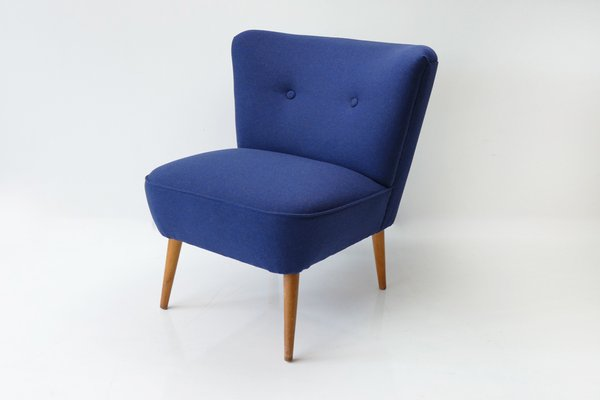 fauteuil cocktail vintage en laine bleue 2 - Fauteuil Cocktail Vintage