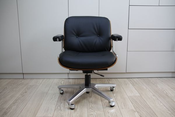 Vintage Swivel Office Chair In Black Leather Wood By Karl Dittert For Giroflex 1960s