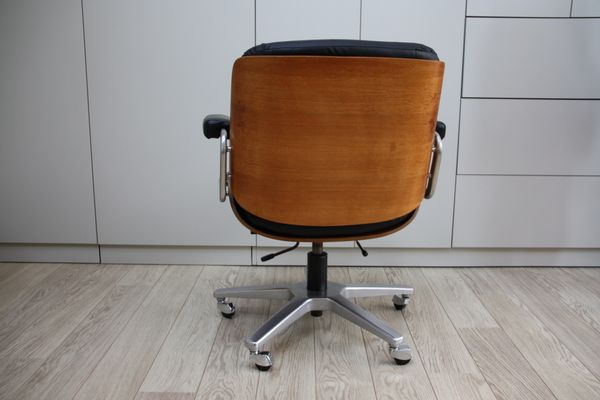 Superieur Vintage Swivel Office Chair In Black Leather U0026 Wood By Karl Dittert For  Giroflex, 1960s