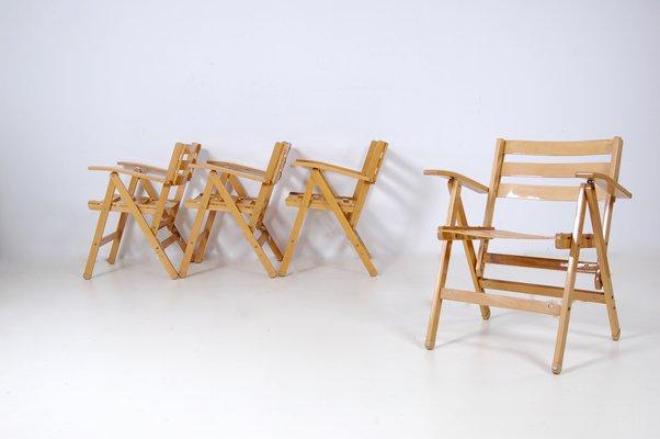 Sedie Pieghevoli Di Legno.Sedie Pieghevoli In Legno Dei Fratelli Reguitti Anni 60 Set Di 4