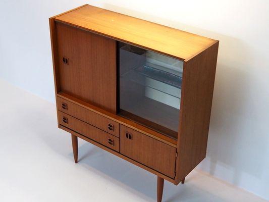 petit meuble style danois vintage avec vitrine 1 - Meuble Danois
