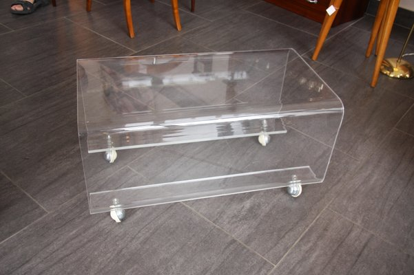 Vintage Plexiglas Coffee Table On Casters 1