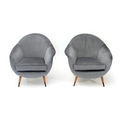 Grey Italian Velvet Armchairs, 1950s, Set Of 2 1