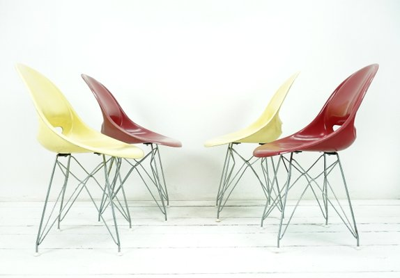 Fibergl Chairs By Miroslav Navrátil For Vertex 1950s Set Of 4 1
