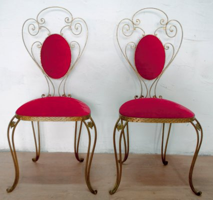 Italian Wrought Iron Chairs By Pier Luigi Colli 1955 Set Of 2 For