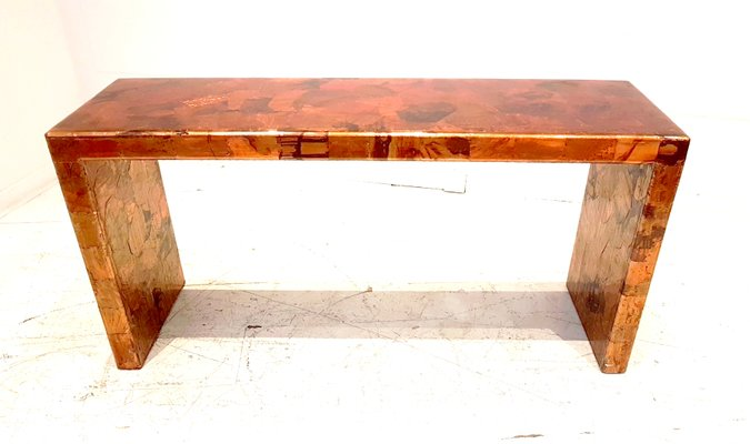 release date: 50577 b543d Brutalist Red Copper & Resin Console Table, 1980s