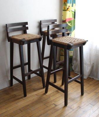Wondrous Vintage Wood Woven Cord Bar Stool Forskolin Free Trial Chair Design Images Forskolin Free Trialorg