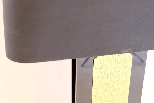 Lampe de bureau en lucite noir et laiton doré gravé par lova