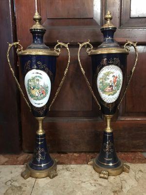 Vintage French Porcelain Bronze Ormolu Vases Set Of 2 For Sale