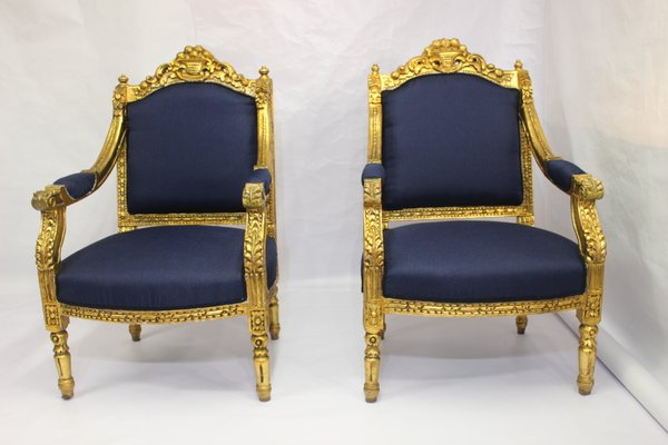 Poltrone antiche in stile Luigi XVI blu, set di 2 in vendita su Pamono