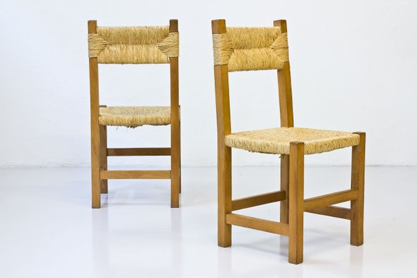 French Rustic Chairs In Straw Beech 1960s