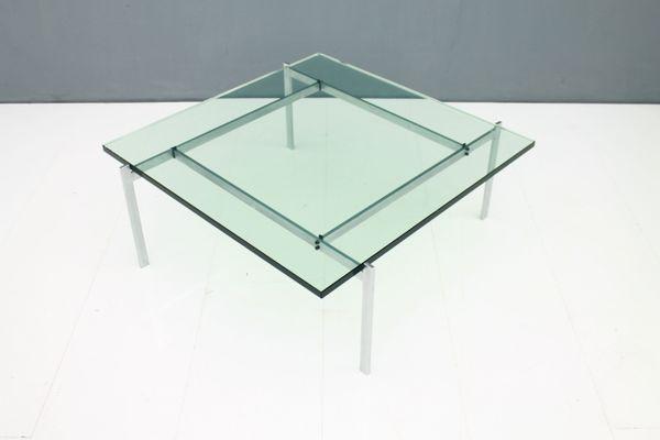 Tavolini In Vetro E Acciaio : Tavolino da caffè pk in acciaio e vetro di poul kjaerholm per e