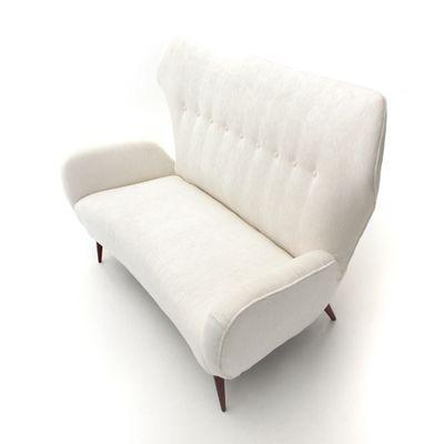 Mid Century Italian Modern White Two Seater Velvet Sofa, 1940s 7
