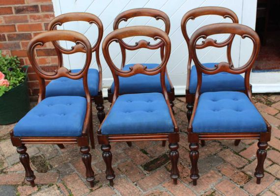 Antique Mahogany Balloon Back Dining Chairs, Set of 6 2 - Antique Mahogany Balloon Back Dining Chairs, Set Of 6 For Sale At Pamono