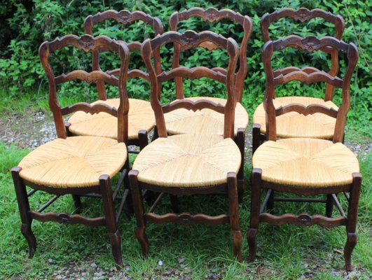 Walnut Carved Dining Chairs With Rush