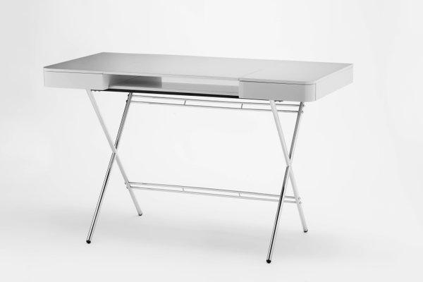 Cosimo Schreibtisch Mit Grauer Glänzend Lackierter Tischplatte Und