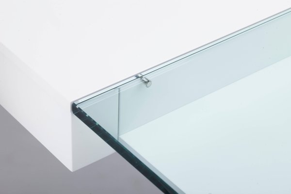 Bureau cosimo blanc mat laqué avec plateau en verre par marco zanuso