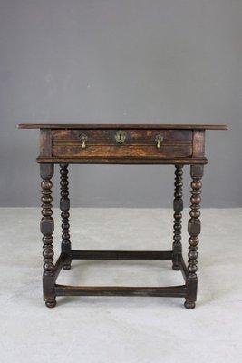 Antique Rustic Oak Side Table 1