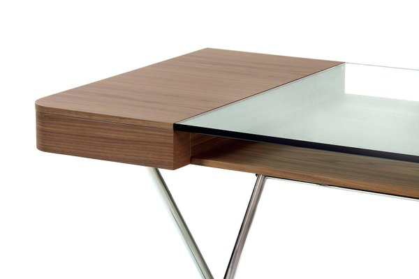 Cosimo Desk With Walnut Veneer Glass Top By Marco Zo Jr For Adentro