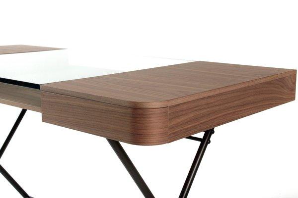Cosimo Desk With Walnut Veneer Glass Top Dark Brown Frame By Marco Zo Jr