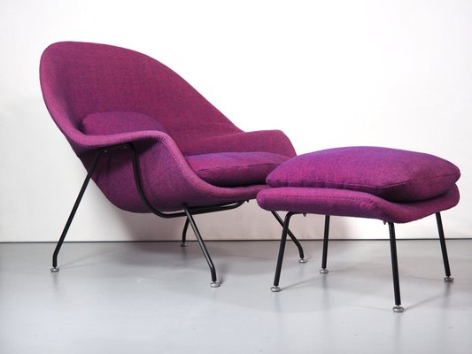 Womb Armchair And Footstool Set By Eero Saarinen For Knoll International 1960s