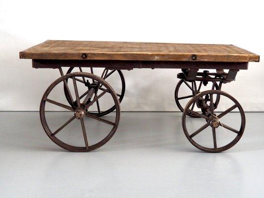 Vintage Industrial Iron U0026 Wood Coffee Table 1
