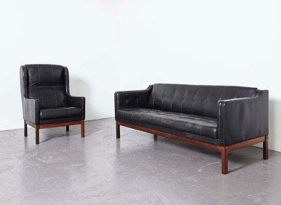 Black Leather Sofa And Wing Chair From Pastoe, 1960s 1