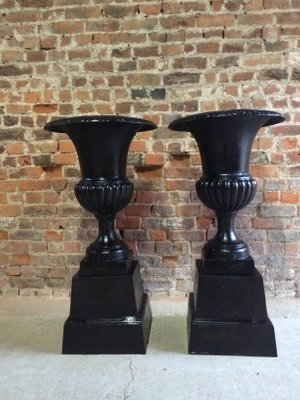 Large French Cast Iron Garden Urns, 1950s, Set Of 2 1