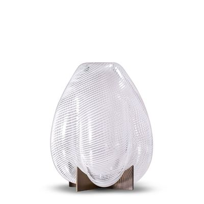 Venturi Pear Vase In White Murano Glass Metal By Bohinc Studio For