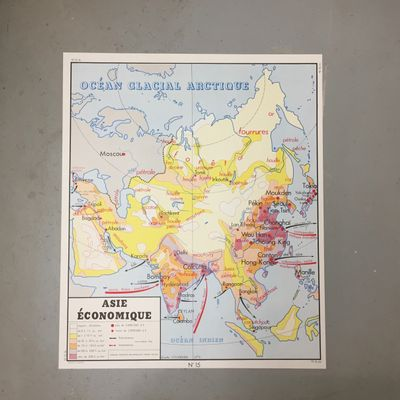 French Double-Sided Map Asia & North America from Edition Rossignol on europe map, iran map, voyage map, afrique map, portugal map, bangladesh map, nature map, africa map, religion map,