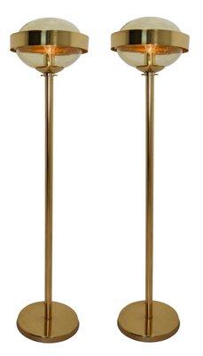 Mid Century Modern Brass Floor Lamp With Hand Blown Glass 1960s