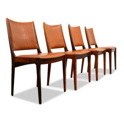 Palisander Leather Dining Chairs By Johannes Andersen For Uldum Møbelfabrik