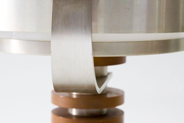 Lampe de bureau pivotante vintage en verre bois et aluminium en