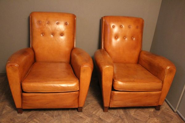 French Cognac Leather Club Chairs, 1950s, Set Of 2 1
