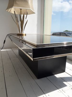 Large Rectangular Mirrored Coffee Table By Roger Vanhevel 1970s 8