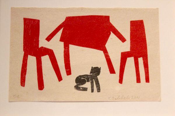 sérigraphie noire & rouge par klaas gubbels, 2001 en vente sur pamono