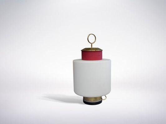 Lampe de bureau rouge en verre laiton de stilnovo s en