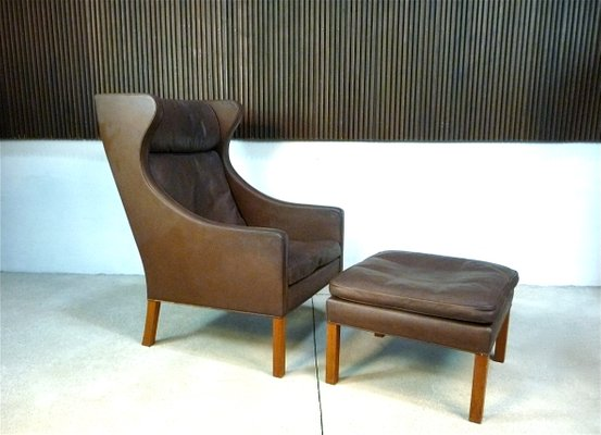 Sensational Leather Wingback 2204 Chair 2202 Ottoman By Borge Mogensen For Fredericia 1960S Pdpeps Interior Chair Design Pdpepsorg