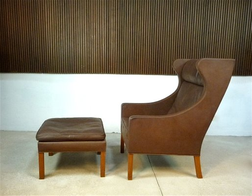 Astounding Leather Wingback 2204 Chair 2202 Ottoman By Borge Mogensen For Fredericia 1960S Pdpeps Interior Chair Design Pdpepsorg