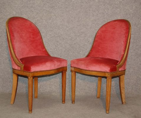 Vintage Art Deco Chairs By Dim Rene Joubert Philippe Petit Set Of