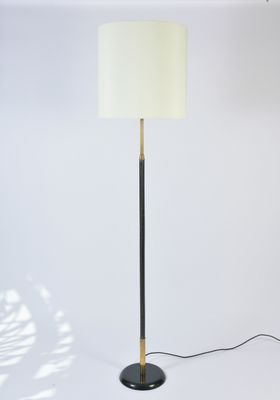 Vintage brass black leather floor lamp for sale at pamono vintage brass black leather floor lamp 2 aloadofball Image collections