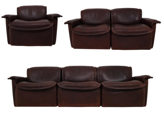 Mid Century Ds 12 Sitzgarnitur Aus Leder Von De Sede Bei Pamono Kaufen