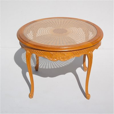 Genial French Cane Coffee Table With Glass Top, 1950s 1